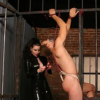 Hot domina gets her gagged slave clamped and whipped