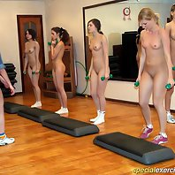 Five sweet naked teenies doing pushups