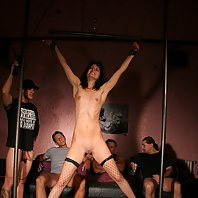 Brunette Barbie in a moresome domination BDSM act