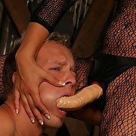 Nasty BDSM dominatrix Gwen Diamond makes her slave blowjob her strap on cock and later butt fucks hi