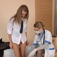 Nude medical exam passed by a college babe
