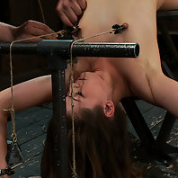 Super cute Allie Haze stretched and bound over jack breaker gets the zipper, dick and vibe.