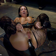 Kelly Divine gets her big ass spanked, shocked and fucked in lesbian BDSM scene