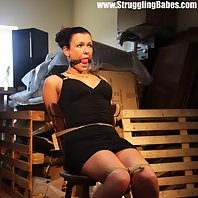 Vixen chair-tied ballgagged tit-grabbed nipple-clamped
