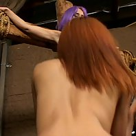 Wild chicks Kelly Wells and Ninety Nine restrain each other to a saltire cross in this nasty BDSM le
