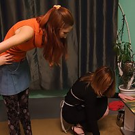 Landlady makes her maid do naked gymnastics