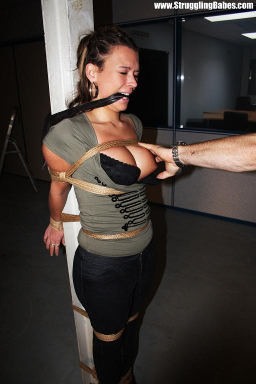 Sandra Silvers Whitney Morgan Pole Tied, Rope Gagged On Screen