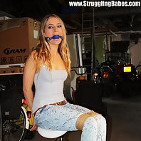 Iveta chair-tied ballgagged tit-grabbed