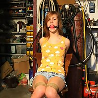 Anouk chair-tied ballgagged tit-grabbed