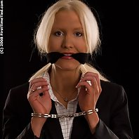 Meet Monica. Monica is handcuffed the very first time in her life. Monica got her hands cuffed both
