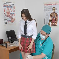 Group physical and gyno exam of a college miss