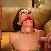 Submissive wife sucks her husband and friend's cocks.