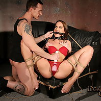 Whipping her and forcing his cock into her mouth