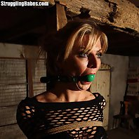 Sophia pole-tied ballgagged tit-grabbed
