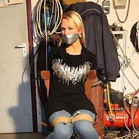 Dutch girl chair-tied mouth taped struggling
