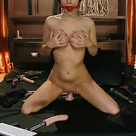 House slave fucks and punishes her sweaty pussy until allowed to cum