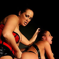 Brutal lesbian bdsm with busty babes and hot wax