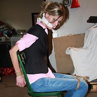 Irena cleavegagged struggling to get out of her chair