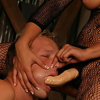 Naughty BDSM Mistress Gwen Diamond makes her man eat her cooter and ride her strap on schlong