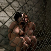 Busty prisoner and counselor bound and fucked in prison.