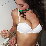 Adel in the butchery standing bound ballgagged tit-grabbed