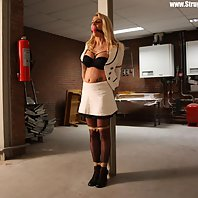 Adrienne pole-tied ballgagged