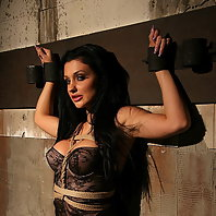 Very hot brunette in a hardcore domination action