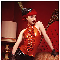 Pervy latex servant dress up with hot redhead Angela Ryan