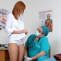 Female student at the male medical disposal