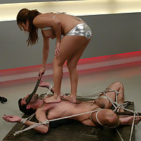mistress Sativa Rose fucks him wild while he's bonded and tied up