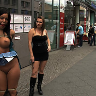 Big tittied brunette gets tied up and fucked in the streets of Europe