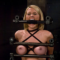 Hot tan blond, bound and made to cum over and over and over