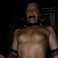 Sara Faye, strictly bound, nipples tortured, and deeply impaled.