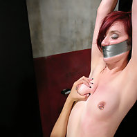 Duct taped and helpless in a public restroom.
