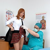Medical debaucher views a nude college redhead