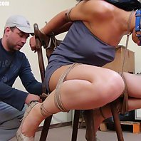 Leyla chair-tied ballgagged tit-grabbed nipple-clamped