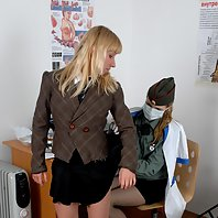 Hair-curling military health exam of a blonde teen