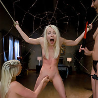 Two kinky blonde lesbians take advantage of the girl next door, tying her up, shocking her cunt, and