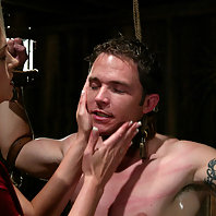 Mistress Crissy devours Her little piggy forcing him to eat sweat