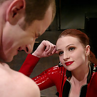Mistress Claire Adams makes slave boy scream