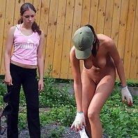 Naughty puss made to clean streets naked