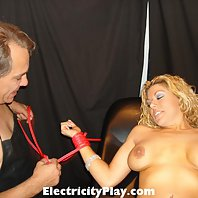 Dr Sparky Ties Up Roxy to his Exam table and Shocks Her