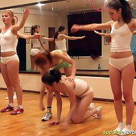 Kinky coach training a naked cheerleading squad