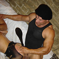 Check out this who gets hit by a paddle and humiliated and later gags on a schlong in this bondage p
