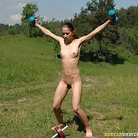 Horny coach takes his naked trainee outdoors