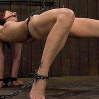 Girl next door, get pulled up by a chain though her shaved pussy.
