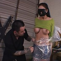 Submissive babe Krissy gets restrained and breast tortured by her mean master in this BDSM scene liv