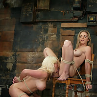 Beautiful blondes lick pussy and endure electro punishment.