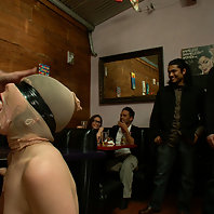 New girl tied up and humiliated in public, made to squeal like a pig while eating spaghetti