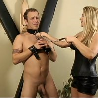 BDSM Mistress Nicolette restrains her slave to a saltire cross and makes him go through cock torture